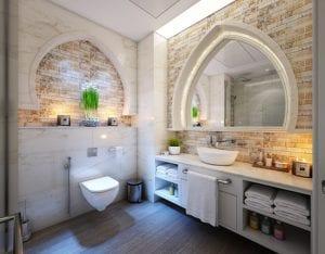 Gekleurd licht badkamer