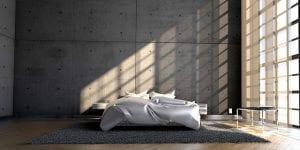Ruime slaapkamer industriele look
