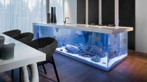 Uniek kookeiland met aquarium